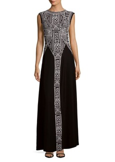 Tadashi Shoji Sleeveless Embroidered Floor-Length Gown