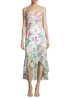 Tadashi Shoji Sleeveless Floral Chiffon Midi Dress