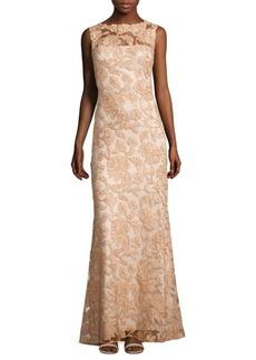 Tadashi Shoji Sleeveless Floral Lace A-Line Gown