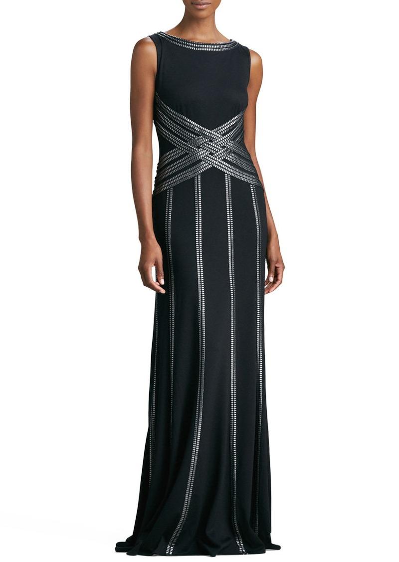 Tadashi Tadashi Shoji Sleeveless Gown with Ribbon Striping | Dresses