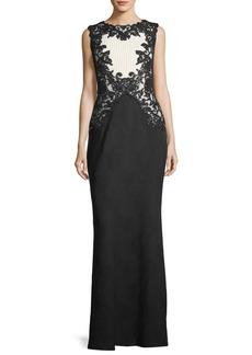 Tadashi Shoji Sleeveless High-Neck Textured Crepe Evening Gown w/ Sequins