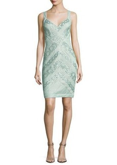 Tadashi Shoji Sleeveless Lace Stripe Cocktail Dress