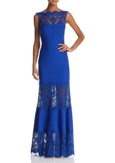 Tadashi Shoji Sleeveless Ribbed Stretch Gown - with Lace Illusion Neckline and Hem