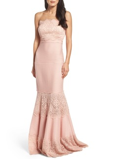 Tadashi Shoji Strapless Lace Inset Pintuck Jersey Gown