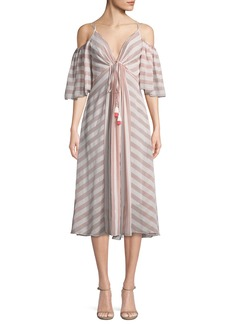 Tadashi Striped Cold-Shoulder V-Neck Dress