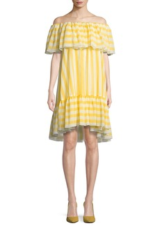 Tadashi Striped Flounce Ruffle Off-the-Shoulder Dress