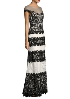 Tadashi Striped Lace Gown