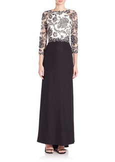 Tadashi Shoji Three-Quarter Sleeve Lace and Crepe Gown