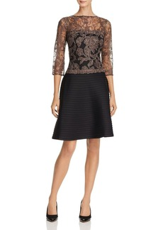 Tadashi Shoji Three-Quarter Sleeve Lace-Bodice Pintuck Dress