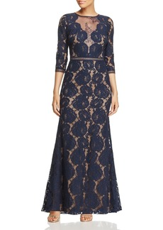 Tadashi Shoji Three-Quarter Sleeve Lace Gown 100% Exclusive