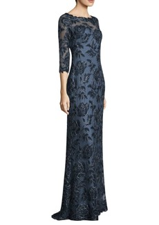 Tadashi Three-Quarter Sleeve Lace Gown