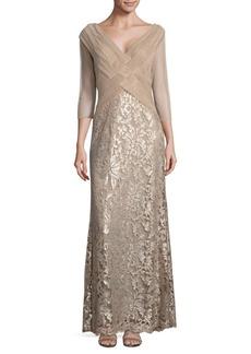 Tadashi Shoji Three-Quarter Sleeve Latice Gown