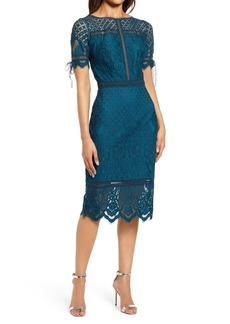 Tadashi Shoji Tie Sleeve Lace Cocktail Dress