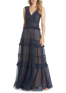Tadashi Shoji Tiered Lace & Chiffon Gown