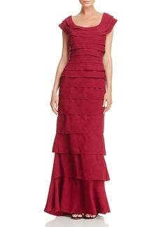 Tadashi Shoji Tiered Textured Crepe Gown