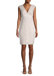Tadashi V-Neck Corded Sheath Dress