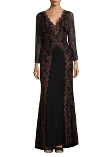Tadashi V-Neck Embroidered Gown