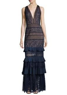 Tadashi Shoji V-Neck Embroidered Lace Column Gown w/ Ruffled Skirt