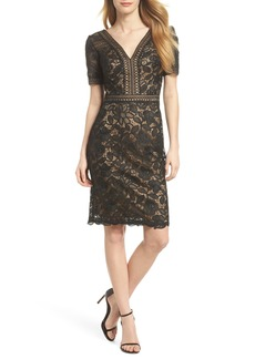 Tadashi Shoji V-Neck Lace Sheath Dress (Regular & Petite)