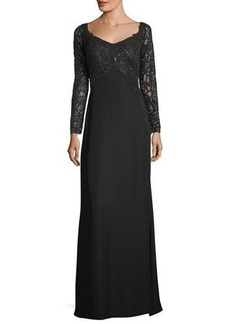 Tadashi Shoji V-Neck Long-Sleeve Sequin Crepe Evening Gown