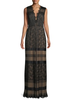 Tadashi V-Neck Multi-Lace Sleeveless Long Dress