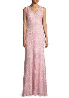 Tadashi V-Neck Sleeveless Lace Applique Dress