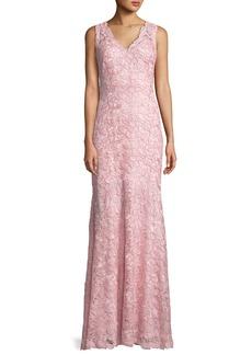 Tadashi V-Neck Sleeveless Lace Appliqué Dress
