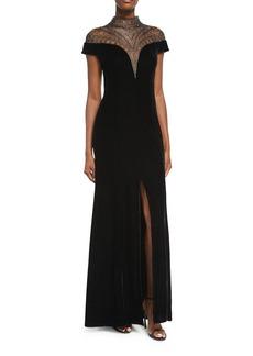 Tadashi Shoji Velvet Cap-Sleeve Evening Gown w/ Beaded Neck