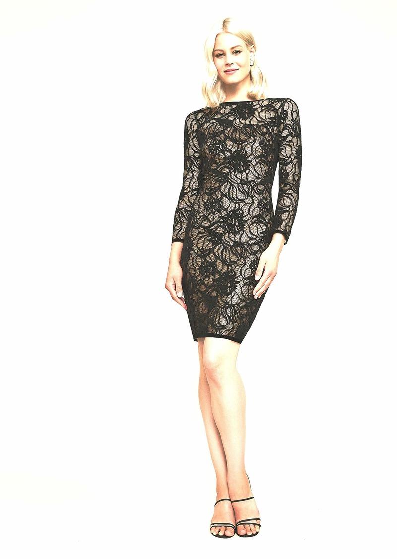 Tadashi Shoji Women's l/s Sequin Burnout Velvet Dress