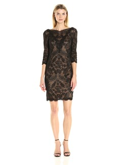 Tadashi Shoji Women's 3/4 Sleeve Embroidered Lace Dress