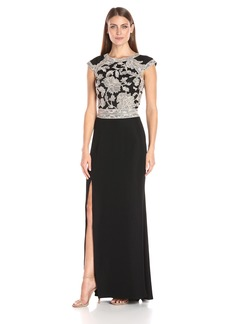 Tadashi Shoji Women's Cap-Sleeve Crepe Dress with Peony Lace Bodice and Open Back and High Slit