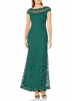 Tadashi Shoji Women's Cap Sleeve Embroidered Lace Gown sea Grass