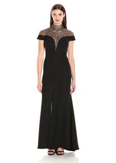 Tadashi Shoji Women's Cap Sleeve Gown with Beaded Neck