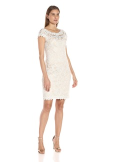 Tadashi Shoji Women's Corded Lace-Cap SLV with V-Back Detail Dress