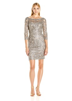 Tadashi Shoji Women's Corded Lace-v-Back Detail-3/4 Slv Dress