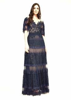 Tadashi Shoji Women's Elbow SLV Pleated lace Gown