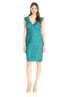 Tadashi Shoji Women's Embroidered Lace-Double V-Neck Dress