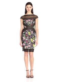 Tadashi Shoji Women's Floral and Lace Cap Sleeve Dress
