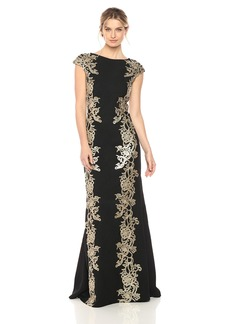 Tadashi Shoji Women's Gold Lace Gown Black