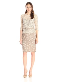 Tadashi Shoji Women's Lace 2 Tone 3/4 Sleeve Dress with Belt