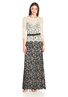 Tadashi Shoji Women's Lace Gown with 3/4 Sleeve and Belt