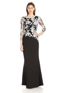 Tadashi Shoji Women's Long-Sleeve Gown in Textured Crepe with Floral Lace Bodice