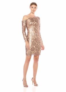 Tadashi Shoji Women's L/S Sequin Dress W/Illusion Neckline