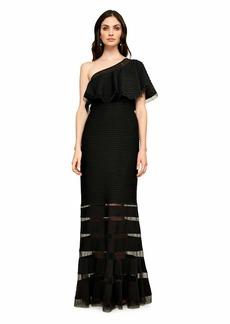 Tadashi Shoji Women's One Shoulder Ruffle Gown  S