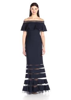 Tadashi Shoji Women's Ruffle Off The Shoulder Gown  L