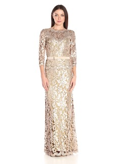 Tadashi Shoji Women's Sequin Embroidered Gown with 3/4 Sleeve and Belt