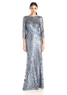 Tadashi Shoji Women's Sequin Lace Gown-3/4 SLV and Ribbon Belt