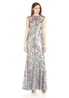 Tadashi Shoji Women's Sequinned Sleeveless Gown with Illusion Neckline