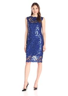 Tadashi Shoji Women's Sequinned Sleeveless Dress with Illusion Neckline