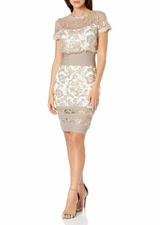 Tadashi Shoji Women's Short Sleeve Sequin Embroidered Blouson Dress